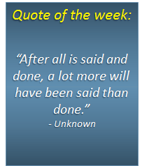 Quote of the week - 21/04/2014